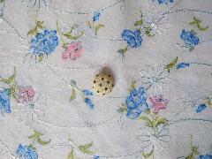 刺繍花柄生地 ブルー 512652