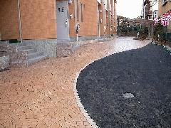 長岡京市 マンション スタンプコンクリート工事