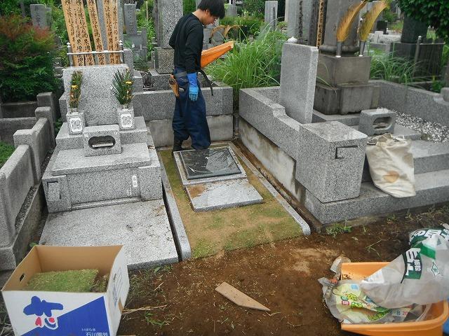 八柱霊園 インド産御影石 墓石 工事