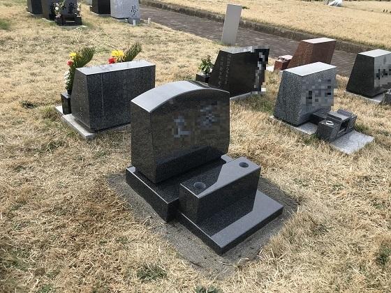 洋型芝生墓地 黒色石