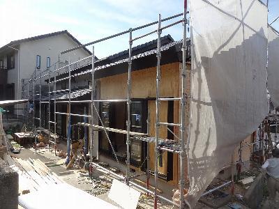 まずは構造用合板で外壁を補強して・・・