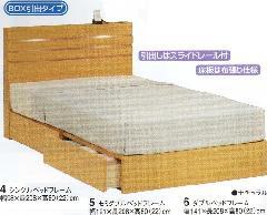 ホールズ-BOX引出しタイプシングル 薄型キャビネット付ベッドフレーム
