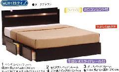 タウン-BOX引出しタイプダブル 薄型キャビネット付ベッドフレーム