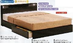 レジデンス-BOX引出しタイプダブル LEDライト付ベッドフレーム