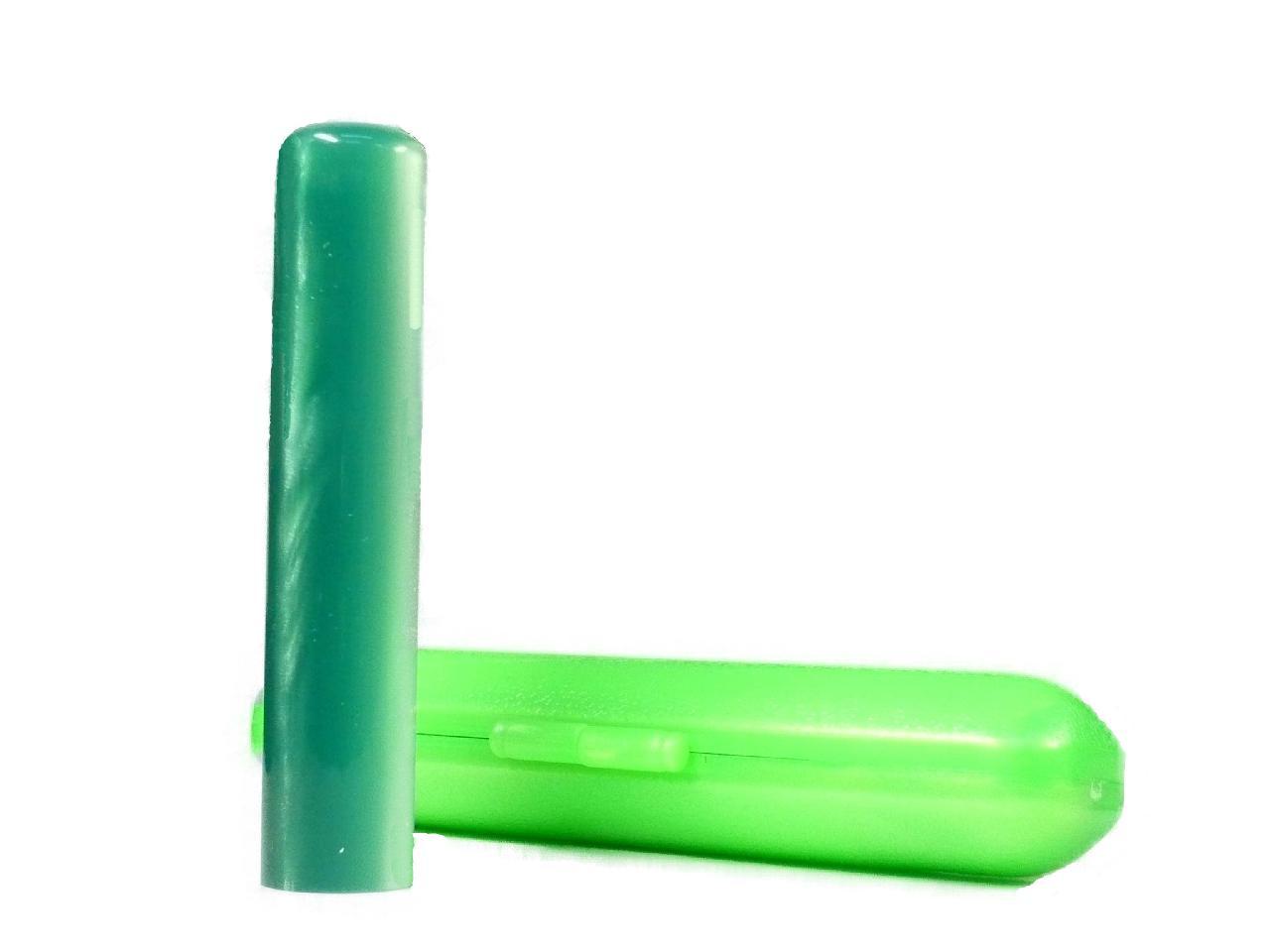 個人用 アクリルパール認印(グリーン)10.5×60mm専用ケース付