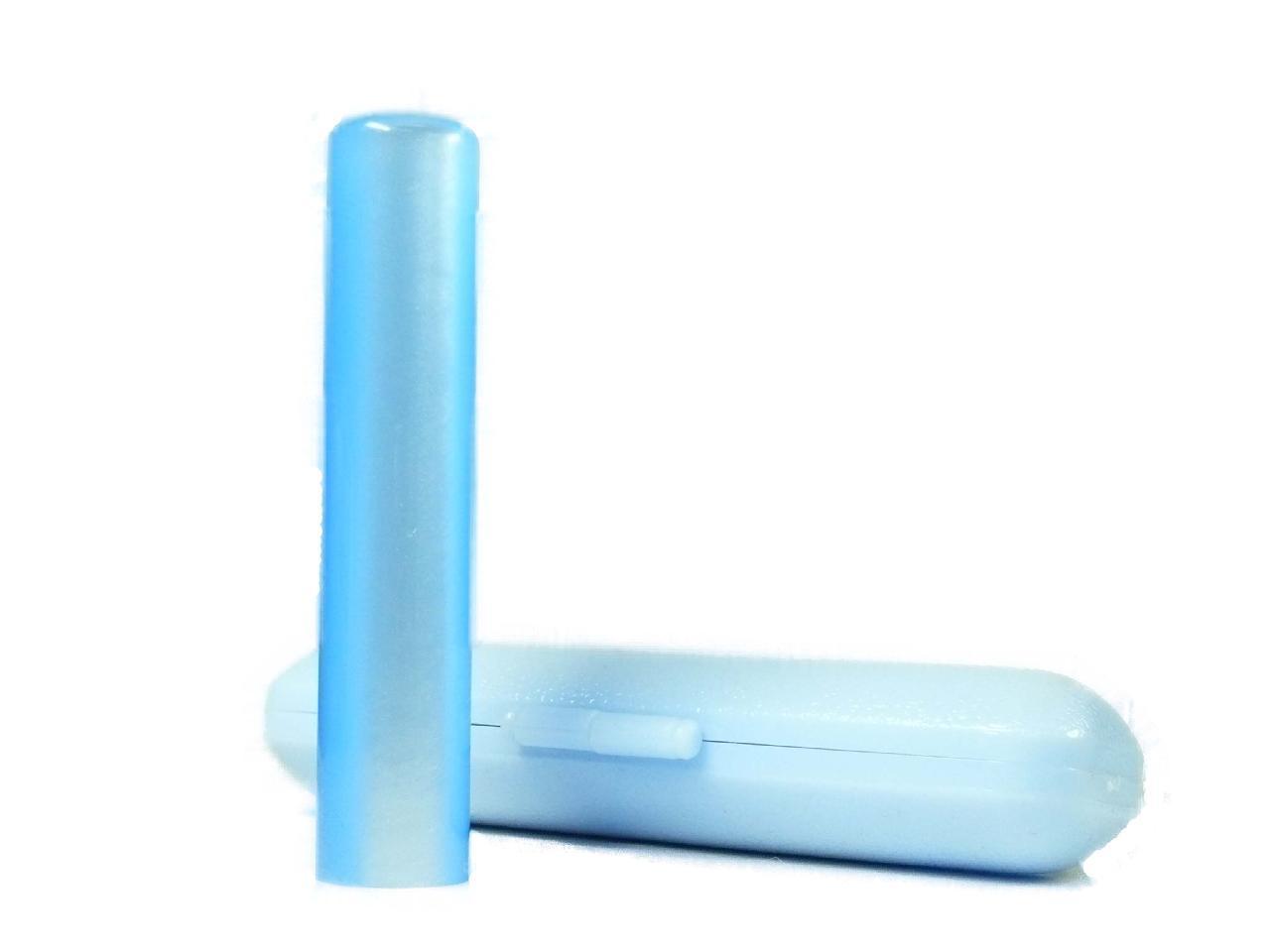 個人用 アクリルパール銀行印(ブルー)12.0×60mm専用ケース付