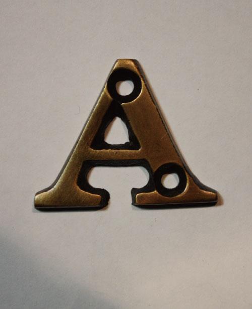 organオリジナル真鍮文字プレート/アルファベットA001