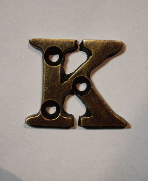 organオリジナル真鍮文字プレート/アルファベットK011