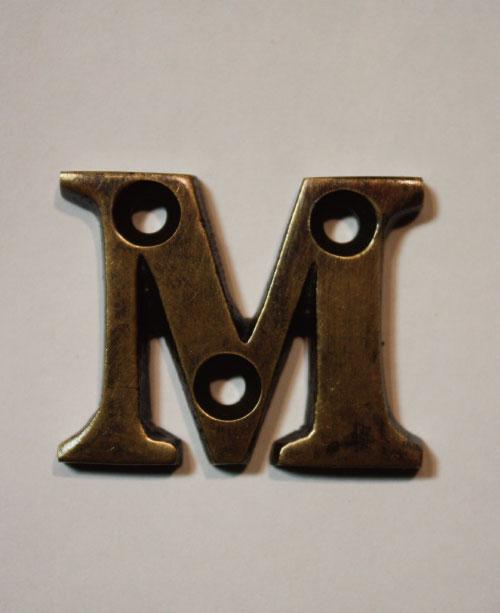 organオリジナル真鍮文字プレート/アルファベットM013