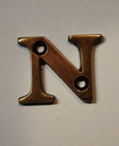 organオリジナル真鍮文字プレート/アルファベットN014