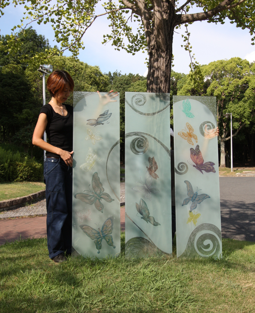 蝶のガラス板 3枚セット