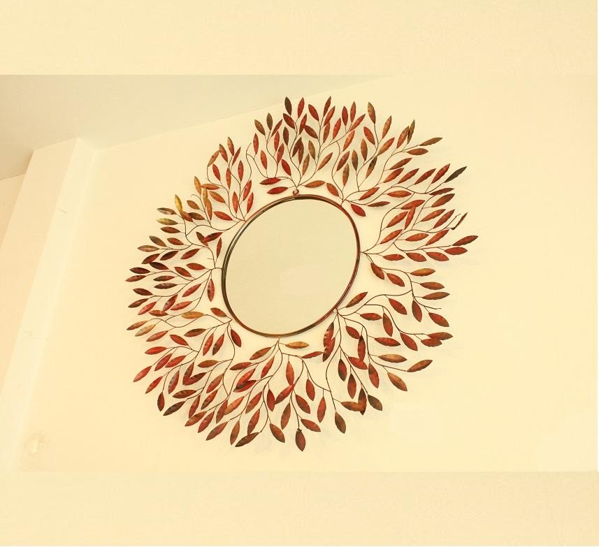アイアン 壁掛けミラー/鏡 (栗の木の葉)