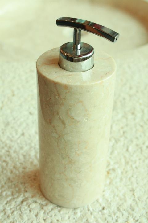 天然石(大理石)洗剤ディスペンサーボトル オフホワイト系Lサイズ