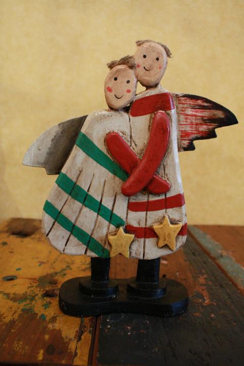 2人の天使 木製置物