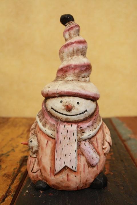木製置物 雪だるま 親子M