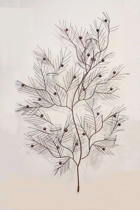 アイアン 壁掛けキャンドルホルダー(木の実)