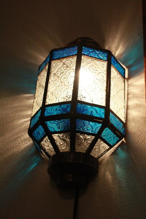 アイアン&ガラス ウォールランプシェード(壁掛け照明/ブラケットライト)ブルー01