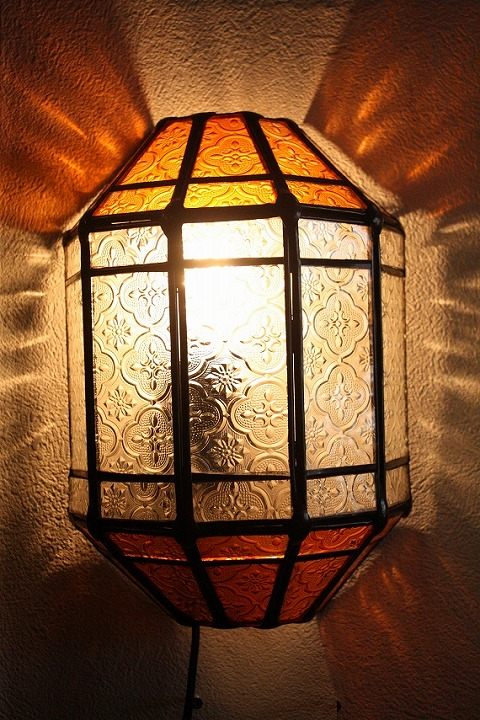 アイアン&ガラス ウォールランプシェード(壁掛け照明/ブラケットライト)MAオレンジ01