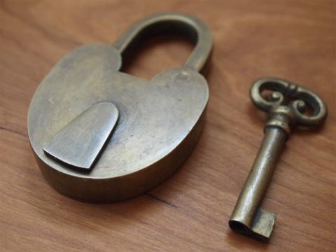 真鍮  錠前・鍵セット X033(大)