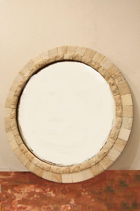 木製 壁掛けミラー/鏡 (丸・石)