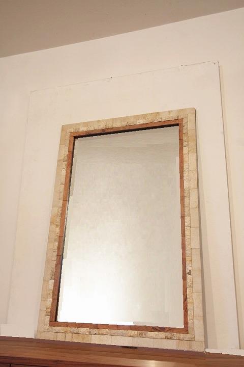 木製 壁掛けミラー/鏡 (大・石)
