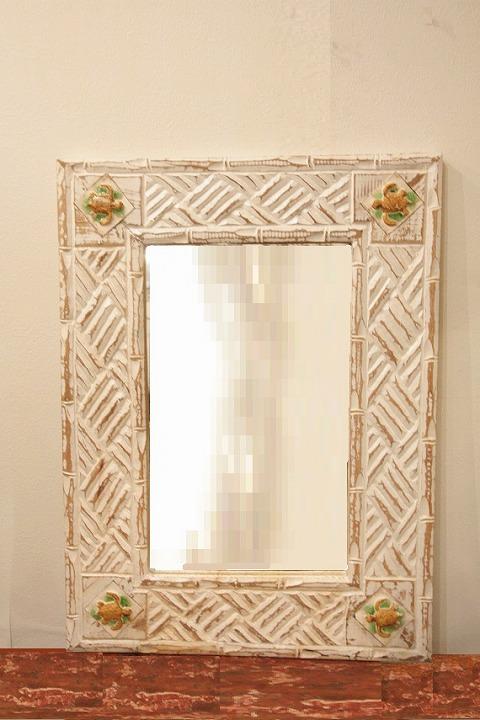 木製 壁掛けミラー/鏡 (カメ)