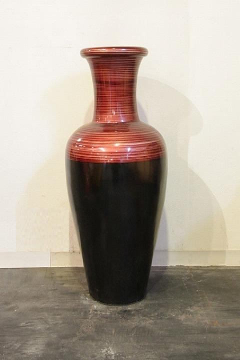 花器、フラワーベース(素焼き)赤黒花器
