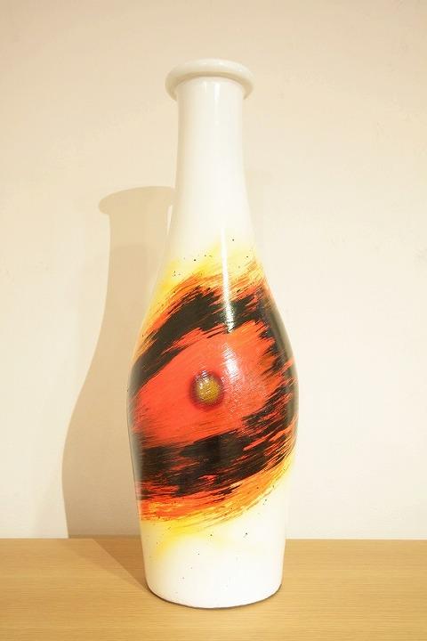 花器、フラワーベース(素焼き)白黄黒橙花器(波模様)