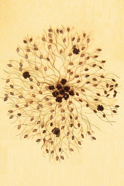 アイアン ウォールデコ(壁掛け飾り・アート)バラの木(大)