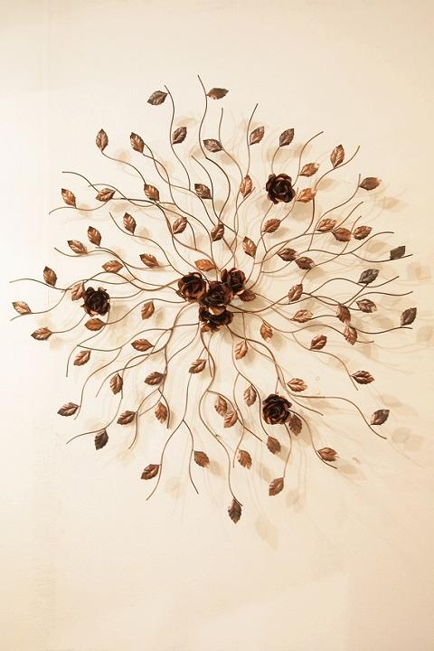 アイアン ウォールデコ(壁掛け飾り・アート)バラの木(小)