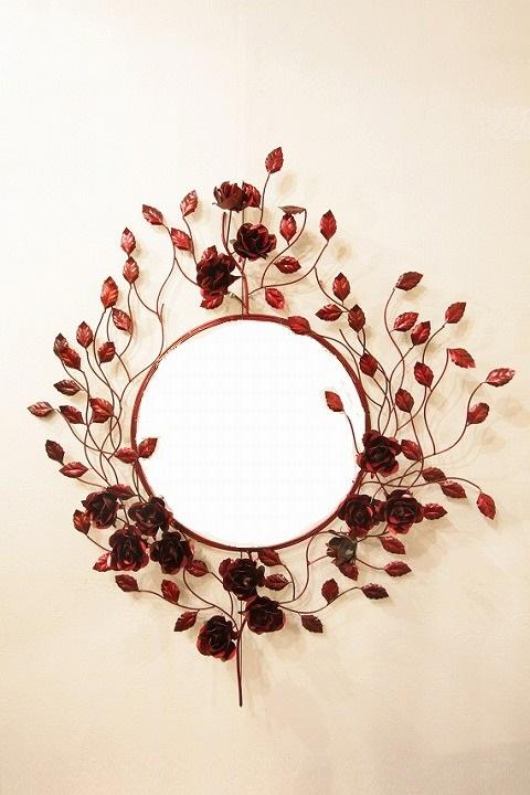 アイアン 壁掛けミラー/鏡 (バラの木) レッド