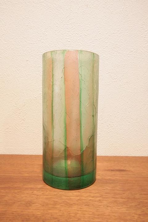花器 フラワーベース(ガラス) 緑 縦縞柄