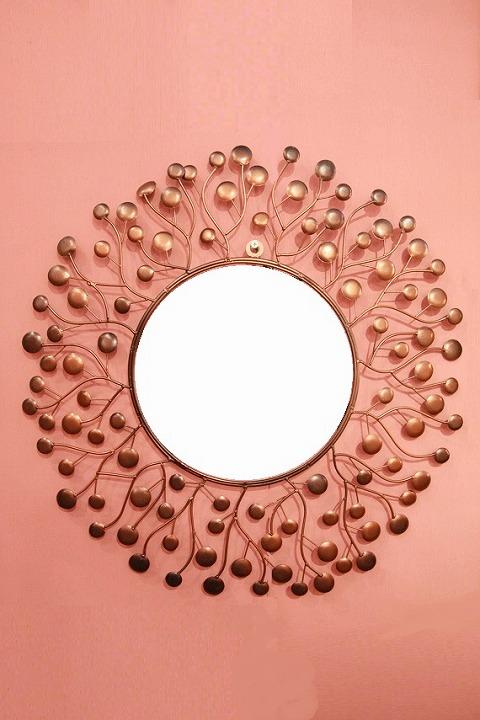 アイアン 壁掛けミラー/鏡 (スパークリング)ブロンズS