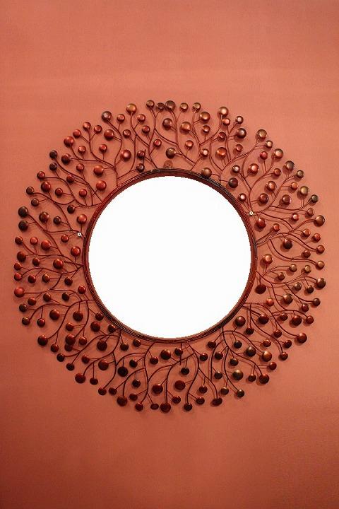 アイアン 壁掛けミラー/鏡 (スパークリング)レッドM