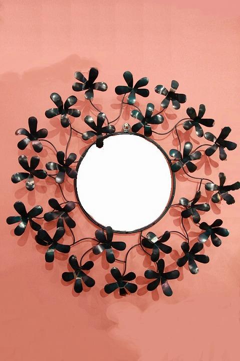 アイアン 壁掛けミラー/鏡 (はこべ深緑)