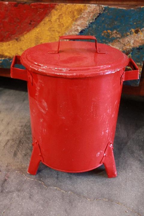 ドラム缶ゴミ箱/ダストボックス赤(ミニ)