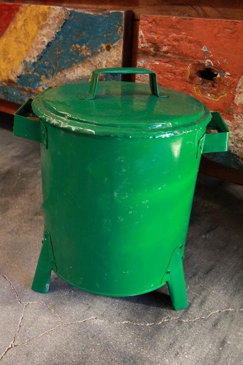 ドラム缶ゴミ箱/ダストボックス緑(ミニ)