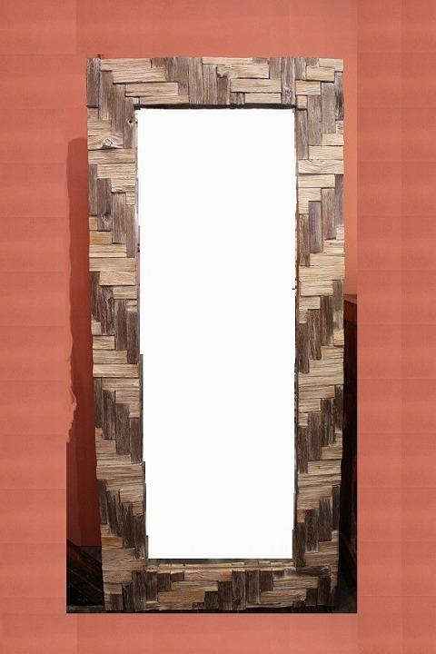 木製 壁掛けミラー/鏡 コンビブラウンL