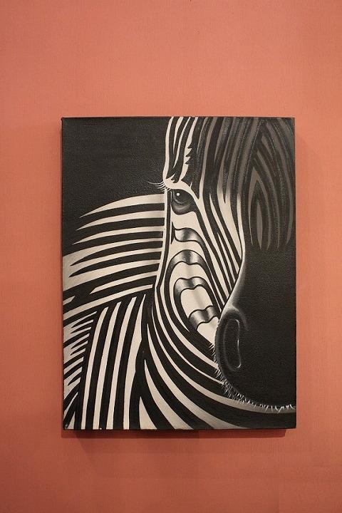 300×400 ゼブラ (アートパネル、アート絵画、ハンドメイド)