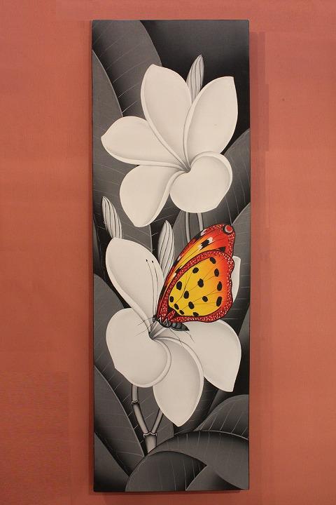 プルメリアと蝶 (アートパネル、アート絵画、ハンドメイド) モノクロ