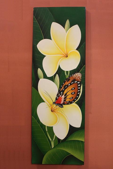 プルメリアと蝶 (アートパネル、アート絵画、ハンドメイド) カラー