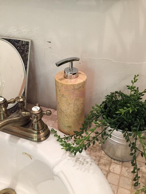 天然石(大理石)洗剤ディスペンサーボトル オレンジ系Lサイズ