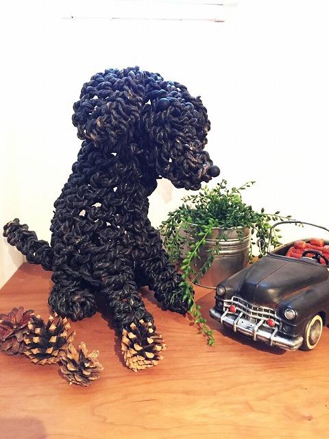 アイアン 雑貨・置物/編み犬オブジェ01-ブラック/AZODRONA0009【アジアン雑貨】【バリ雑貨】