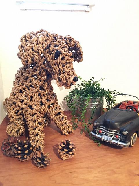 編み犬オブジェ
