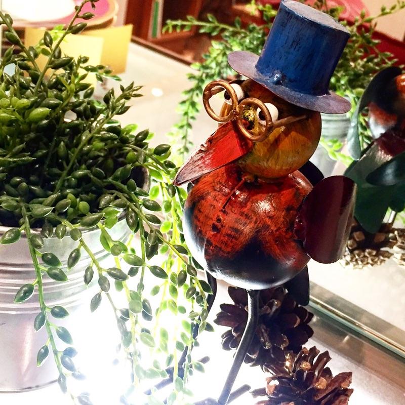 アイアン 雑貨・置物/メガネな鳥オブジェ01/AZODRONA0004 【アジアン雑貨】【バリ雑貨】
