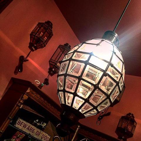 アイアン&ガラス ペンダントランプシェード(吊り下げ照明/ペンダントライト)クリア03