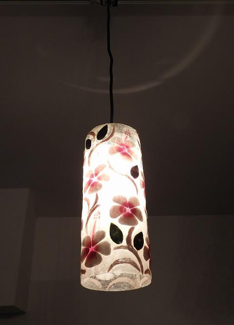 ペンダントランプMD02 シェル花柄・円柱