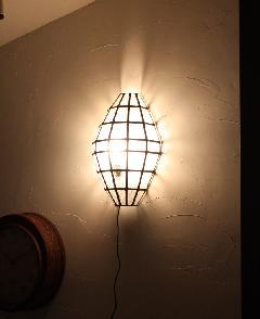 アイアン&ガラス ウォールランプシェード(壁掛け照明/ブラケットライト)クリア01