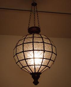 アイアン&ガラス ペンダントランプシェード(吊り下げ照明/ペンダントライト)クリア01