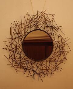 アイアン 壁掛けミラー/鏡 (鳥の巣)サイズM